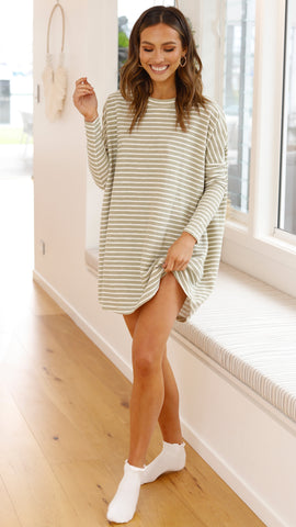 Lucy Knit Dress - Khaki/White Stripe