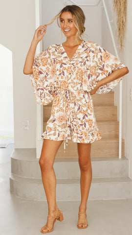 CLOE Playsuit - White Floral