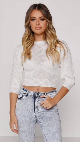 Annabelle Boucle Knit Crop - Cream