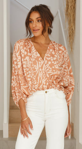 Mila Top - Clay Print