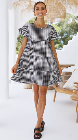 Kaia Dress - Black Gingham