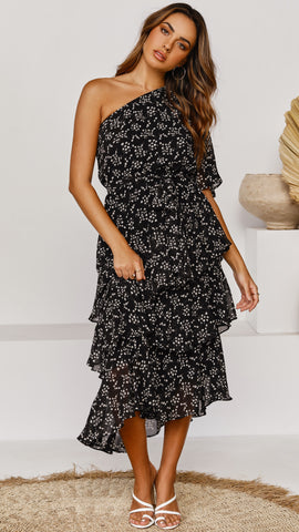 Tokyo Dress - Black with White Floral