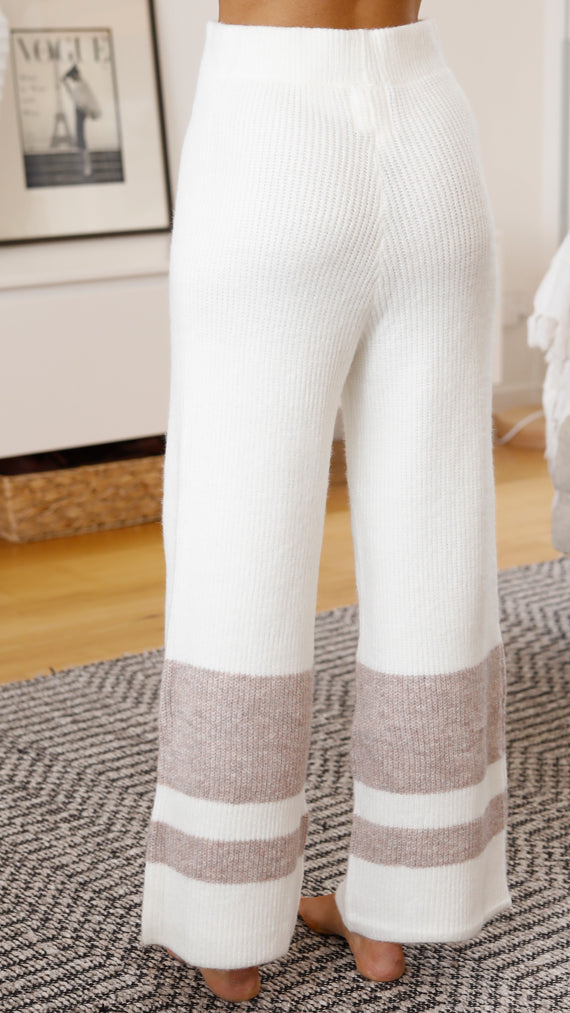 Milla Pants - White/Beige Stripe