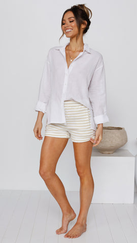 Bailey Ribbed Shorts - White/Yellow Stripe