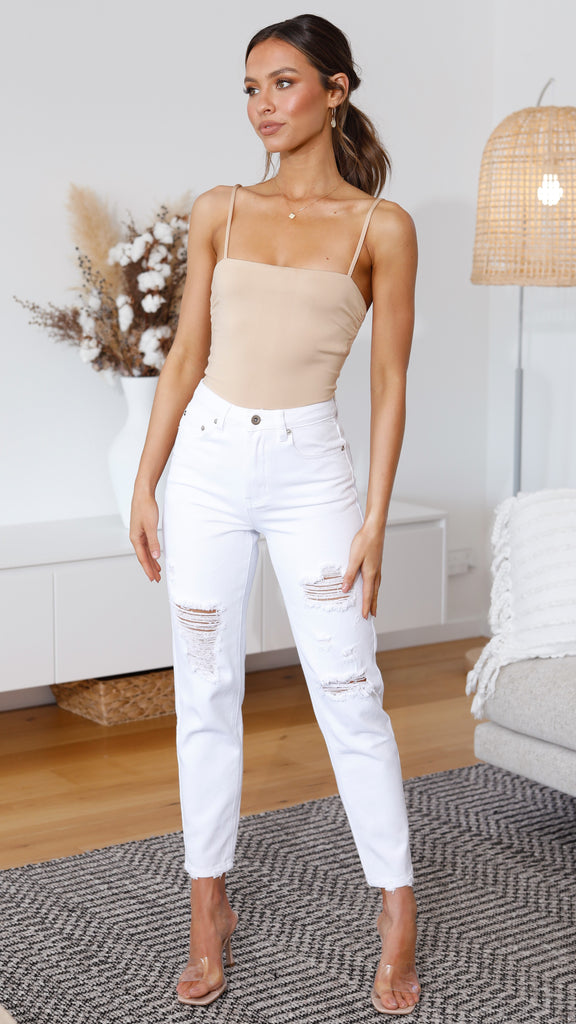 Liv Distressed Jeans - White Wash
