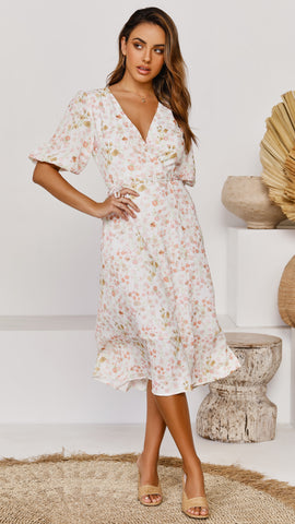 Salsa Wrap Dress - Pansy Floral
