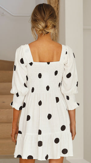 Amira Dress - Black/White Polka