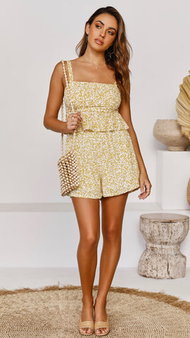 Delta Shorts - Yellow Leopard