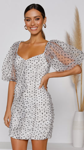 Oriana Dress - White/Black Dots