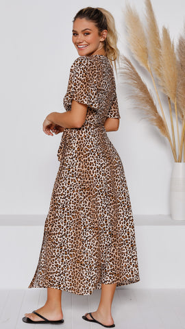 Billie Maxi Wrap Dress - Leopard