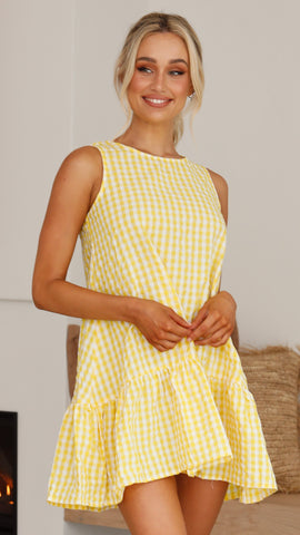 Kiro Dress - Yellow Gingham
