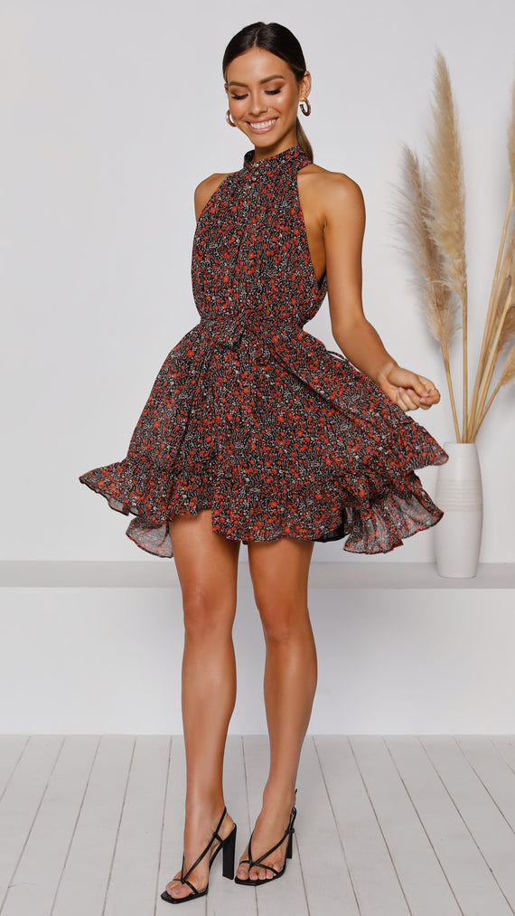 Ophelia Dress - Black/Red Floral