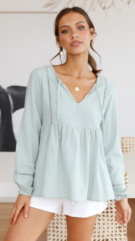 Esther Long Sleeve Top - Sage