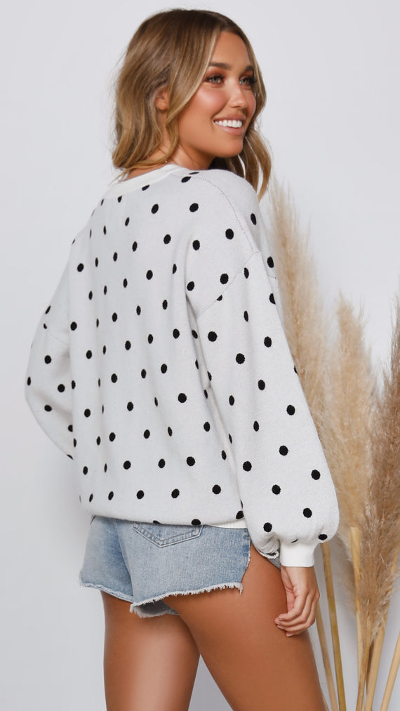 Elouise Knit - White/Black Polka Dot