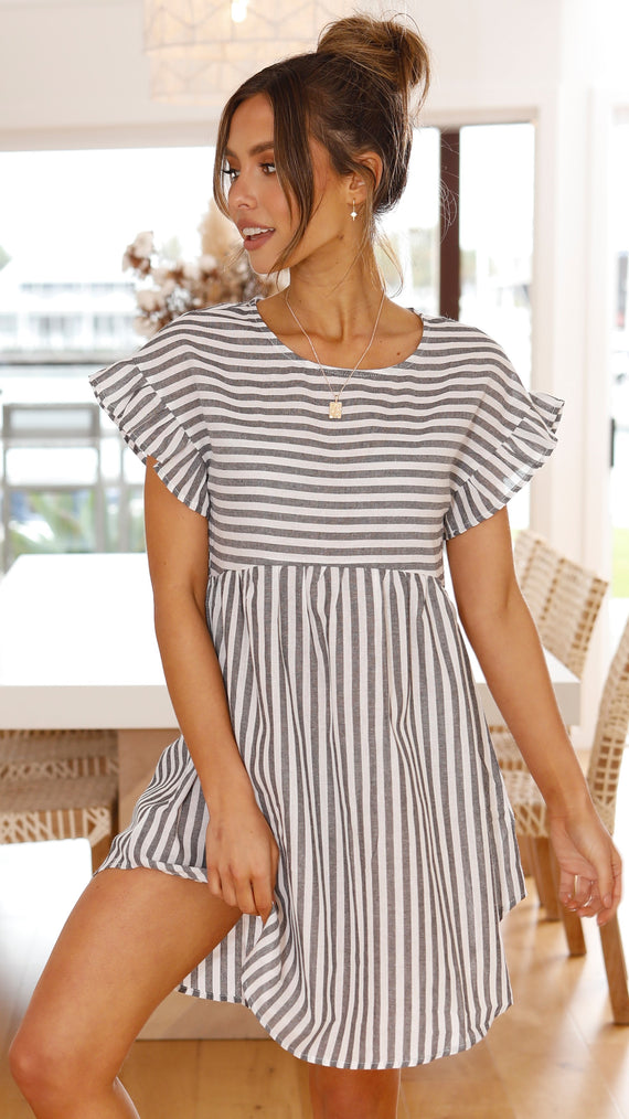 Luce Dress - Grey Stripe