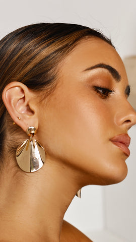 Moulded Wave Metal Earrings - Gold