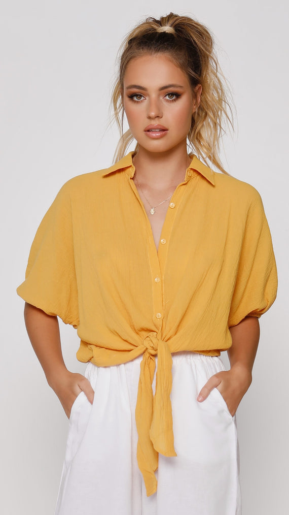 Aviana Button Up Shirt - Yellow