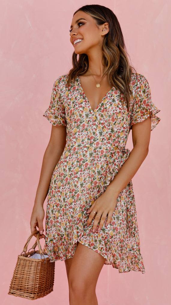 Adriana Dress - Yellow/Pink Floral Print