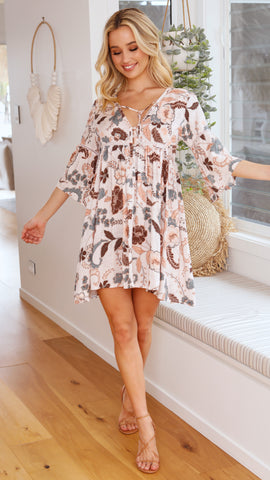 Aylee Dress - Beige Nalu Print