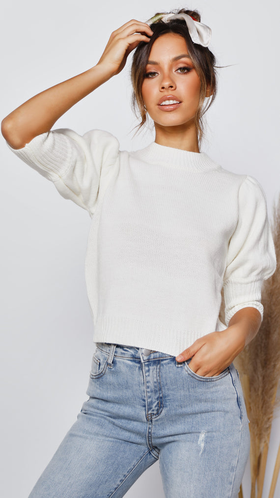 Myah Knit Top - Cream