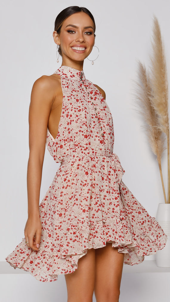 Ophelia Dress - Beige/Red Floral