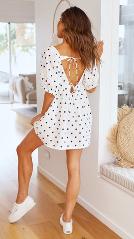 Halsey Dress - White/Navy Polka Dot