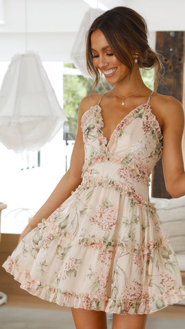 Serenity Mini Dress- Nude Floral