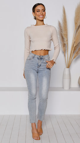 Parie Cropped Knit - Beige