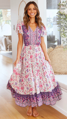 Catalina Maxi Dress - Purple Floral
