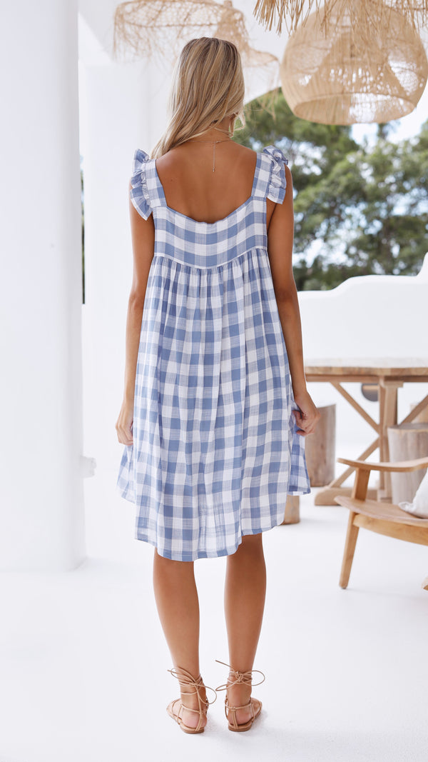 Clare Mini Dress - Blue Gingham