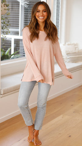 Bobbie Basic Long Sleeve Top - Blush