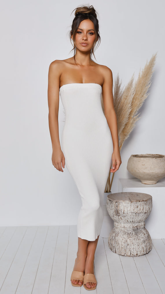 Keely Strapless Dress - White
