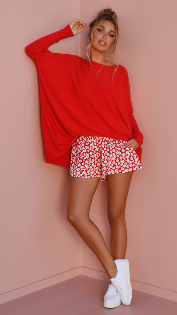Warrior Knit Top - Red