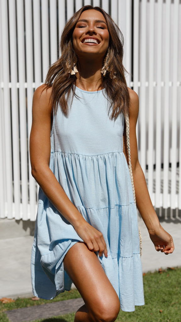 Lulu Mini Dress - Sky Blue