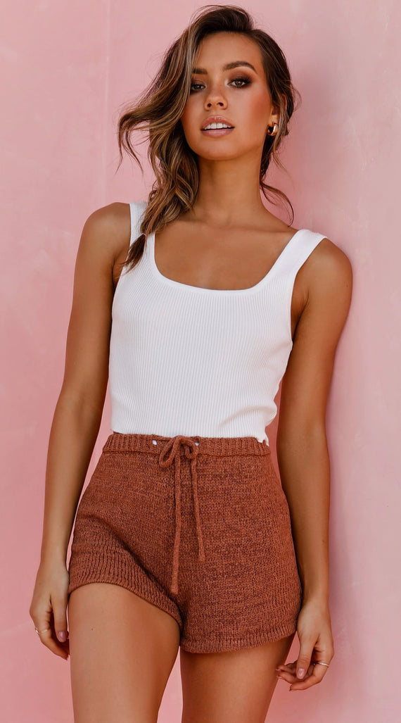 Viola Knitted Shorts - Cocoa