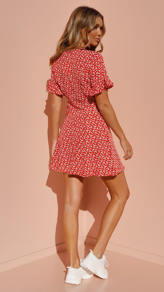 Bayside Dress - Red Floral