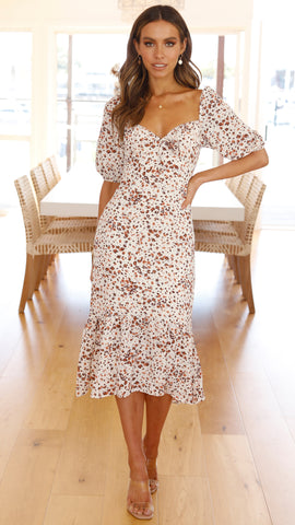 Lissy Dress - Brown/Cream Speckle