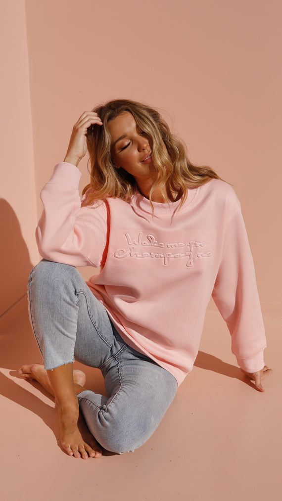 Wake Me Up For Champagne Jumper - Pink