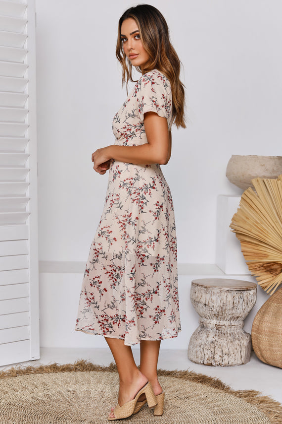 Juliet Rose Dress - Beige Floral