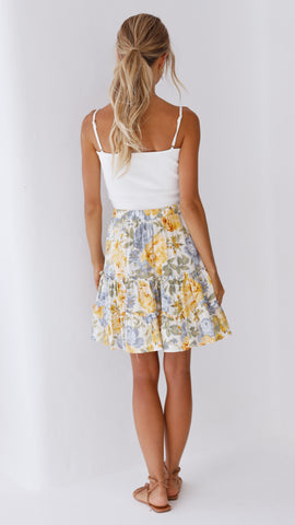 Rosita Mini Skirt - Yellow/Blue Floral
