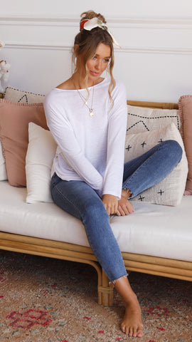 Bobbie Basic Long Sleeve Top - White