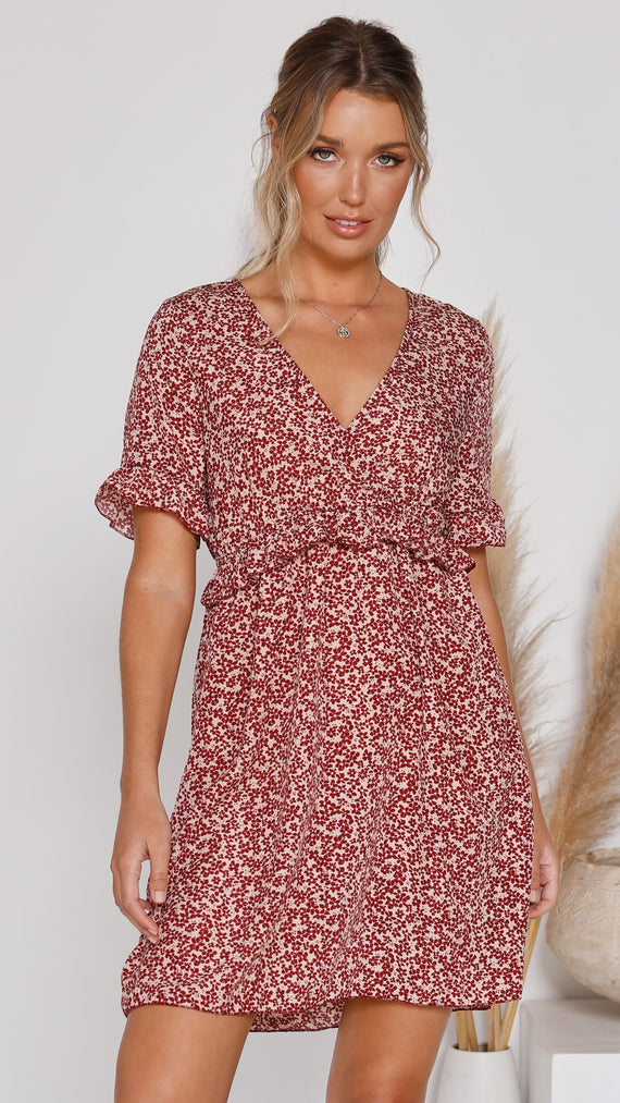 Marcey Dress - Red Floral