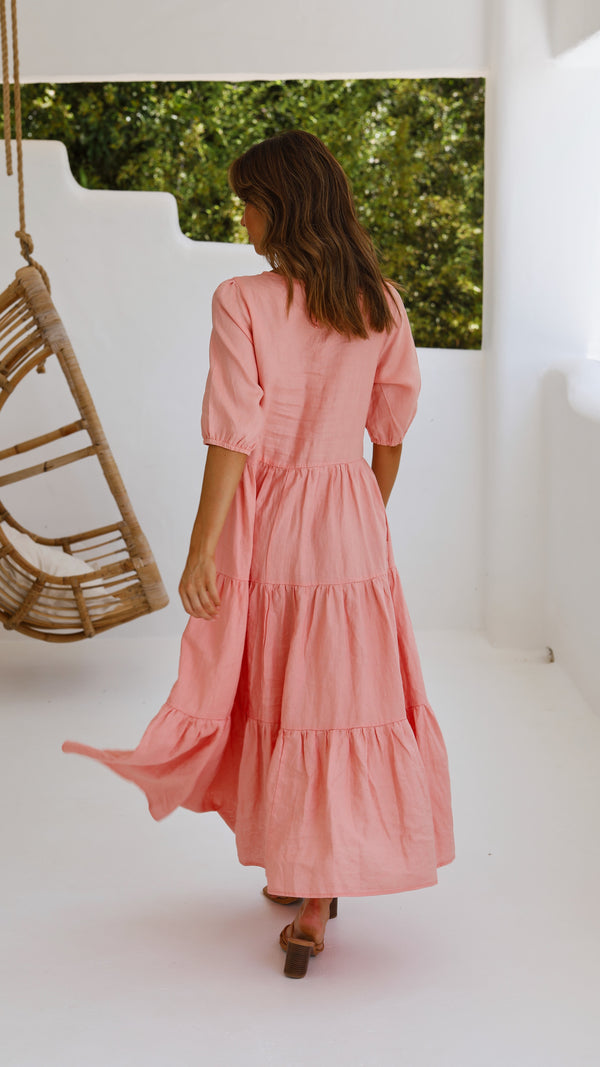 Artie Tiered Dress - Salmon