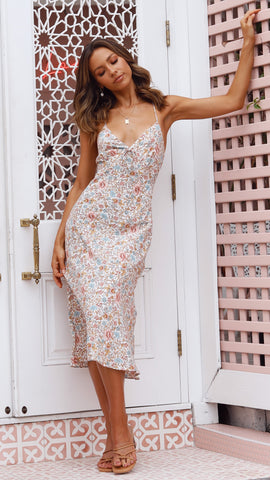 Elora Dress - White/Pink Floral