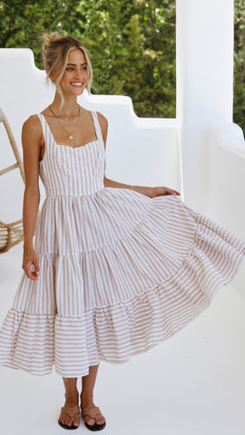 Rosabelle Maxi Dress - Beige Stripe