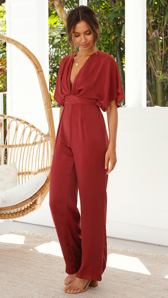 Peta Jumpsuit - Wine