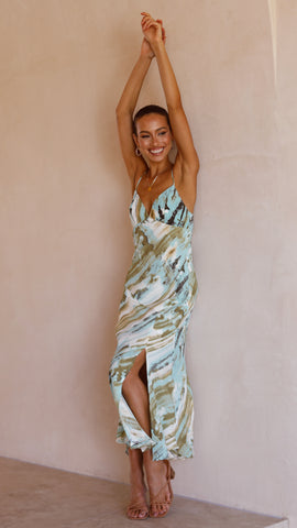 Annalise Dress - Green Tie Dye