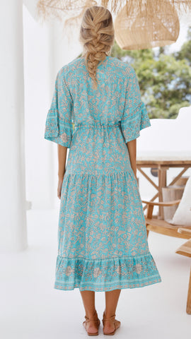 Finn Dress - Turquoise Floral