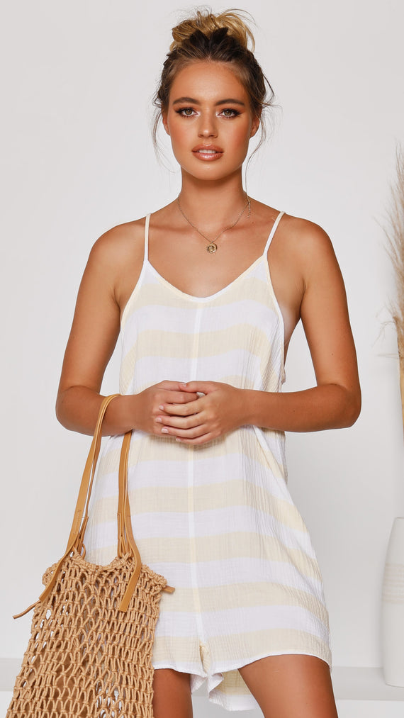 Adella Playsuit - Yellow Stripe