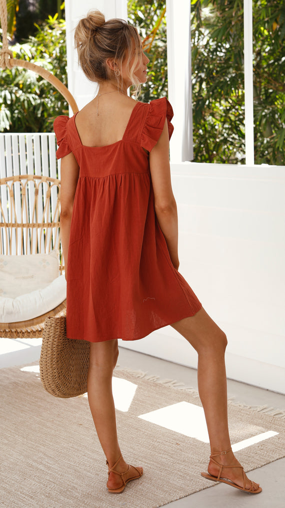 Aleeah Smock Dress - Rhubarb